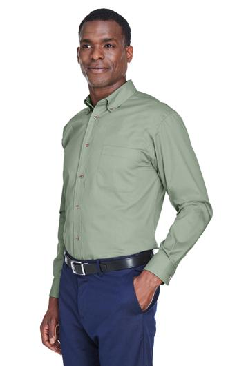 Harriton Men's Easy Blend Long-Sleeve Twill Shirt with  1