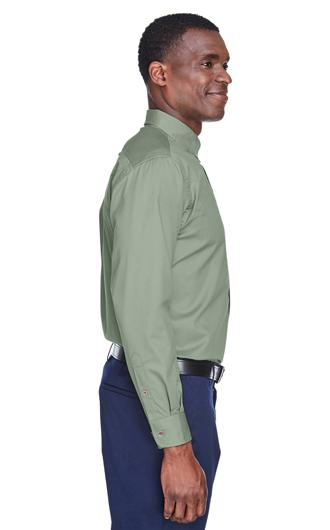 Harriton Men's Easy Blend Long-Sleeve Twill Shirt with  2