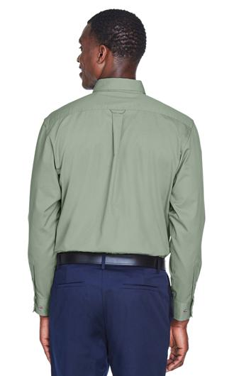 Harriton Men's Easy Blend Long-Sleeve Twill Shirt with  3