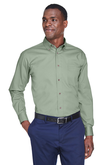 Harriton Men's Easy Blend Long-Sleeve Twill Shirt with