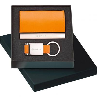Leather Card Case & Key Ring Gift Set