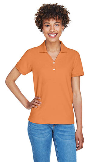 Devon & Jones Women's Pima Pique Short-Sleeve Y-Colla